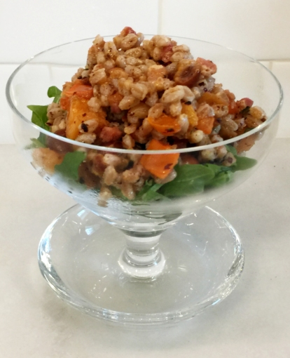 farro-persimmon-salad-with-pan-fried-hazzelnuts